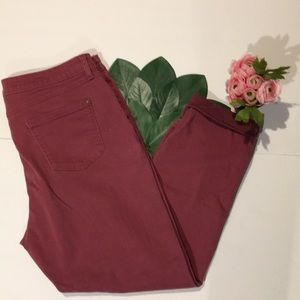 LC Lauren Conrad Cuffed skinny pink ankle jeans